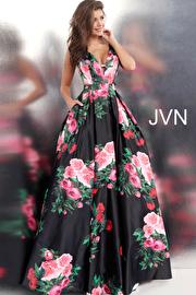 Jvn Black Multi Side Cut Outs V Neck Ballgown JVN59146