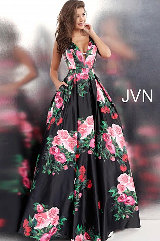 Black Multi Side Cut Outs V Neck Ballgown JVN59146