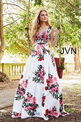 White Multi Floral Side Cut Outs V Neck Prom Dress JVN59146
