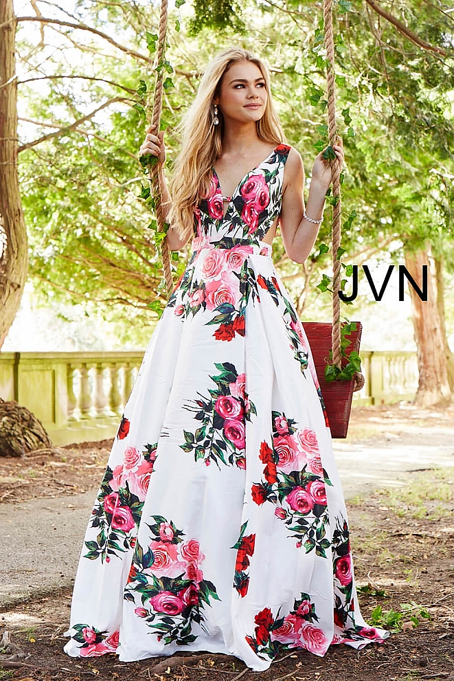 JVN59146 White Multi Floral Side Cut Outs V Neck Prom Dress