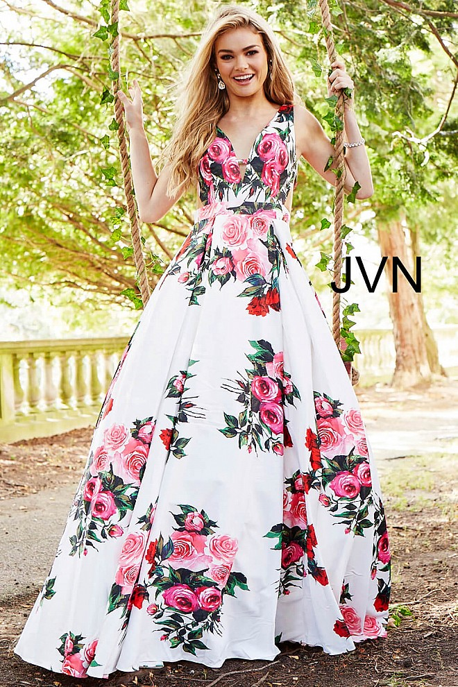 74dea120d8 White multi print long A line sleeveless plunging v neck prom gown.
