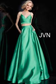 Jvn Green Two Piece Tie Back Prom Ballgown JVN59636