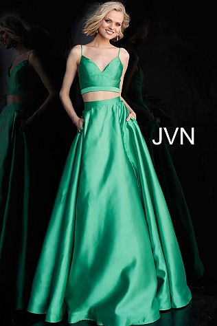 Green Two Piece Tie Back Prom Ballgown JVN59636