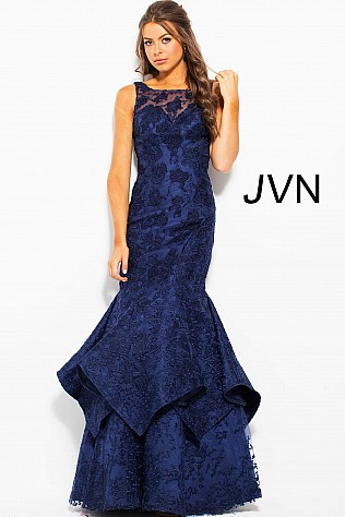 Navy Floral Embroidered Sleeveless Mermaid Dress JVN59896