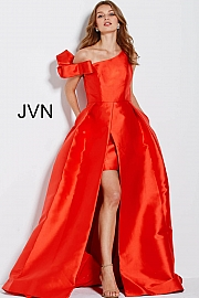 Red Off the Shoulder Pleated Skirt Mikado Prom Gown  JVN60049