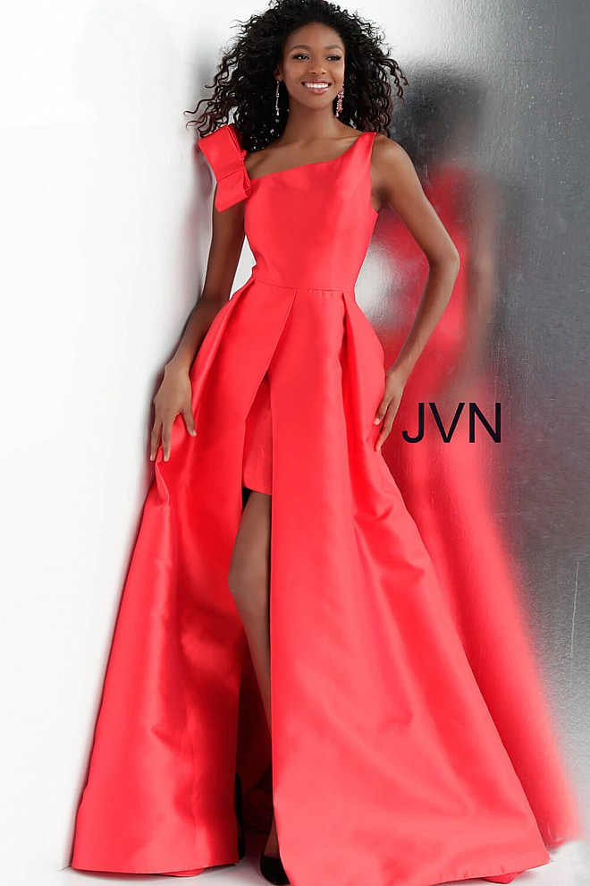 29ad934ad8f Red long high slit asymmetrical neckline prom ballgown with pockets.