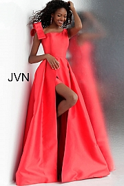 Jvn Red Off the Shoulder Pleated Skirt Mikado Prom Gown  JVN60049