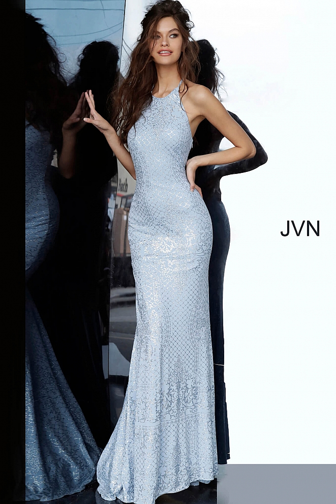 JVN60137 Tie Back Jersey Prom Dress