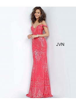 JVN60139 Red Off the Shoulder Fitted Prom Dress