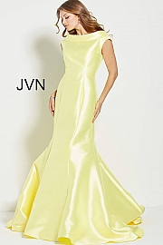 Yellow Mikado Boat Neck Mermaid Prom Gown JVN60173