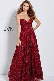 Wine Embroidered Strapless Floral Prom Ballgown JVN60436