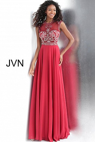 Burgundy High Sheer Neckline Chiffon Prom Dress JVN60451