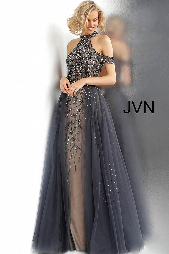 Charcoal Off the Shoulder High Neck Beaded Dress JVN60456