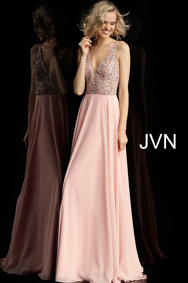 Blush Embellished Bodice Sleeveless Chiffon Prom Dress JVN60467