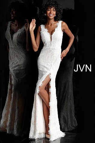 Ivory Lace High Slit Plunging Neck Prom Dress JVN60595