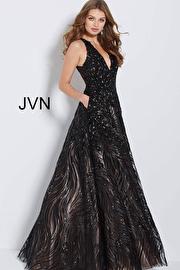 Jvn Black Nude Sequin Embellished Evening A Line Dress JVN60641