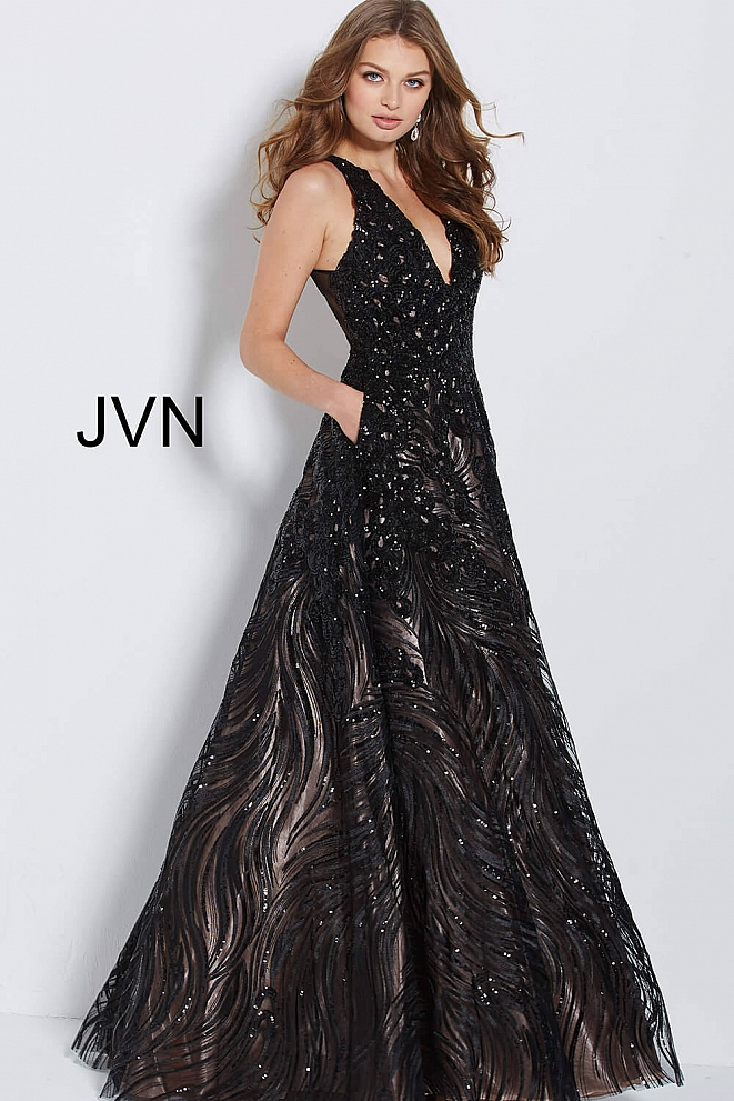 JVN60641 Black Embellished V Neck Ballgown