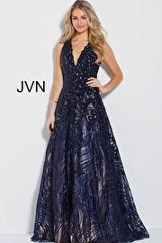 Black Nude Sequin Embellished Evening A Line Dress JVN60641