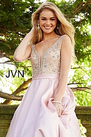 Blush Embellished Bodice A-Line Prom Gown JVN60696