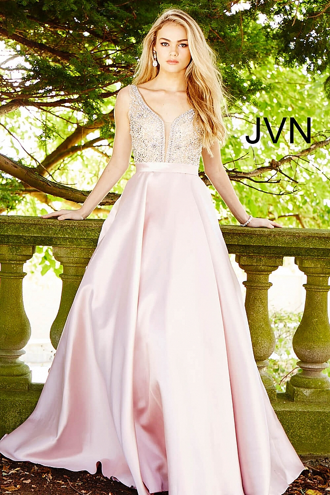 JVN60696 Blush Embellished Bodice A-Line Prom Gown