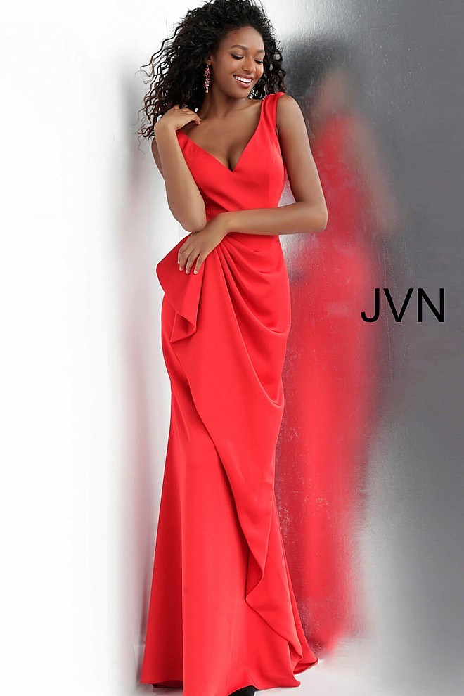 17e986e425c Red long fitted sleeveless v neck ruched waist prom dress.