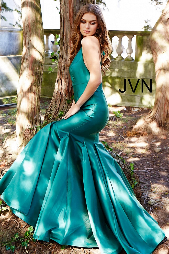 JVN60917 Green V Neck Mermaid Prom Dress