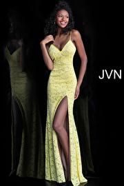 Jvn Yellow Nude Lace High Slit Prom Dress JVN61070