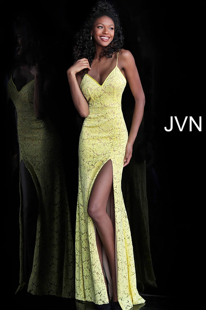 ed642be7fb3 Jvn Yellow Nude Lace High Slit Prom Dress JVN61070 · yellow nude form  fitting v neck ...