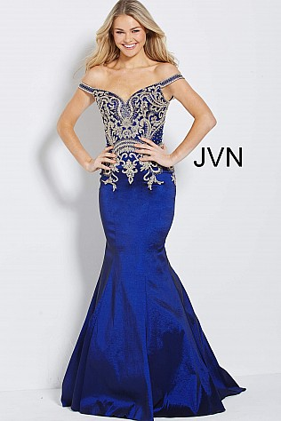 Navy Embroidered Bodice Off the Shoulder Prom Dress JVN61193