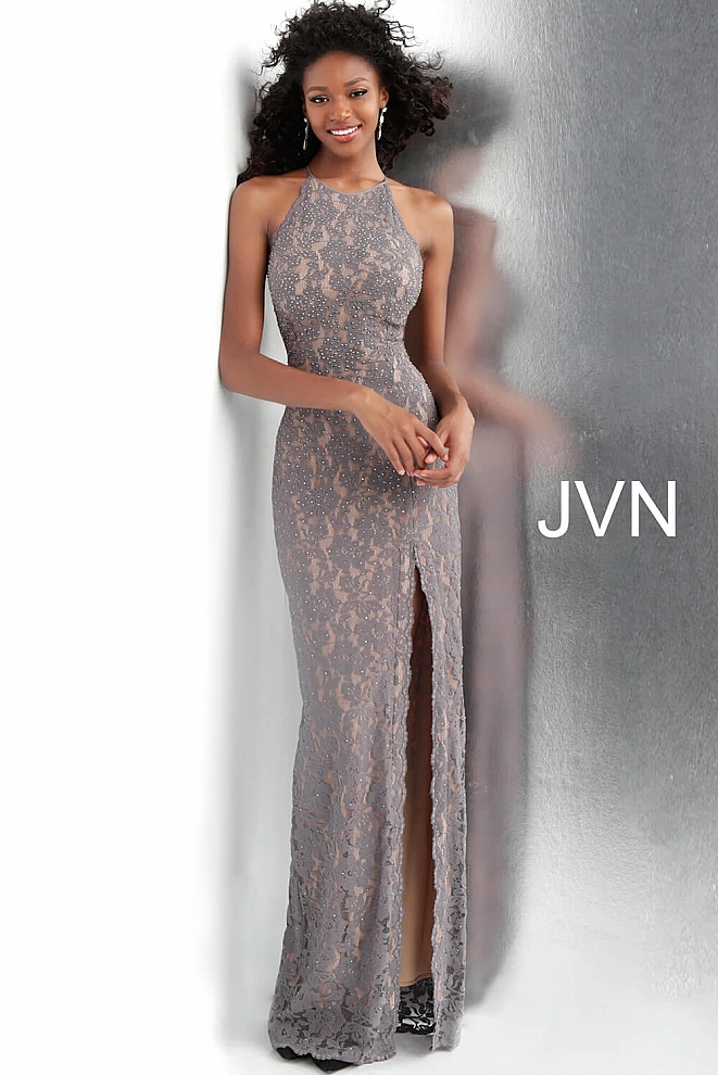 Grey Lace High Slit Fitted Sleeveless Prom Dress JVN61347