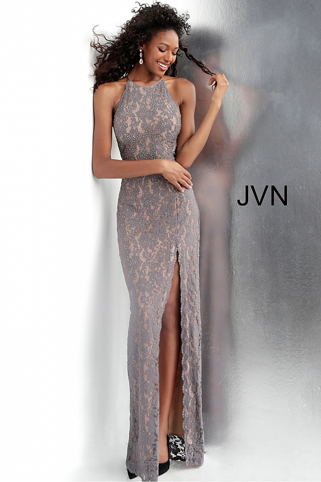 Grey Fitted Bodice Beaded Lace Bridesmaid Dress JVN61347