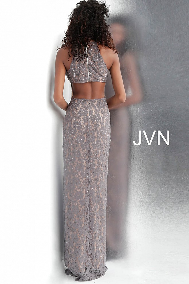 11882678ae66c Grey and Nude Embellished Lace Sleeveless Fitted Prom Dress