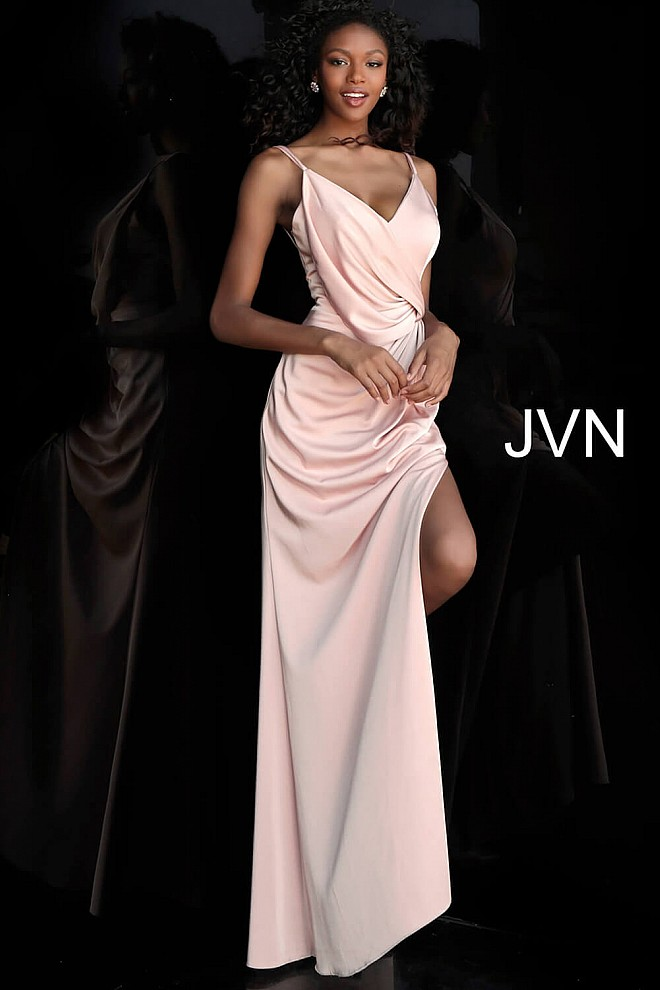 Blush V Neck Spaghetti Straps Ruched Prom Dress JVN61571