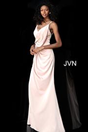 Blush High Slit Ruched Bodice Bridesmaid Dress JVN61571