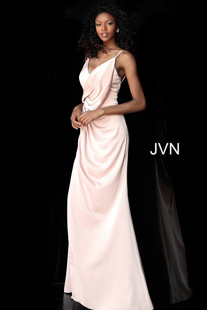 Blush High Slit Ruched Bodice Bridesmaid Dress JVN61571