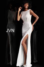 Jvn White Gold Beaded Boat Neckline Fitted Prom Dress JVN61691