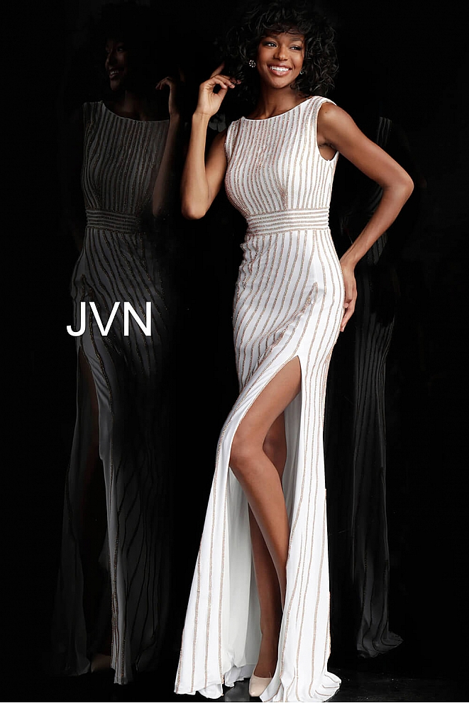 White Gold Beaded Boat Neckline Fitted Prom Dress JVN61691