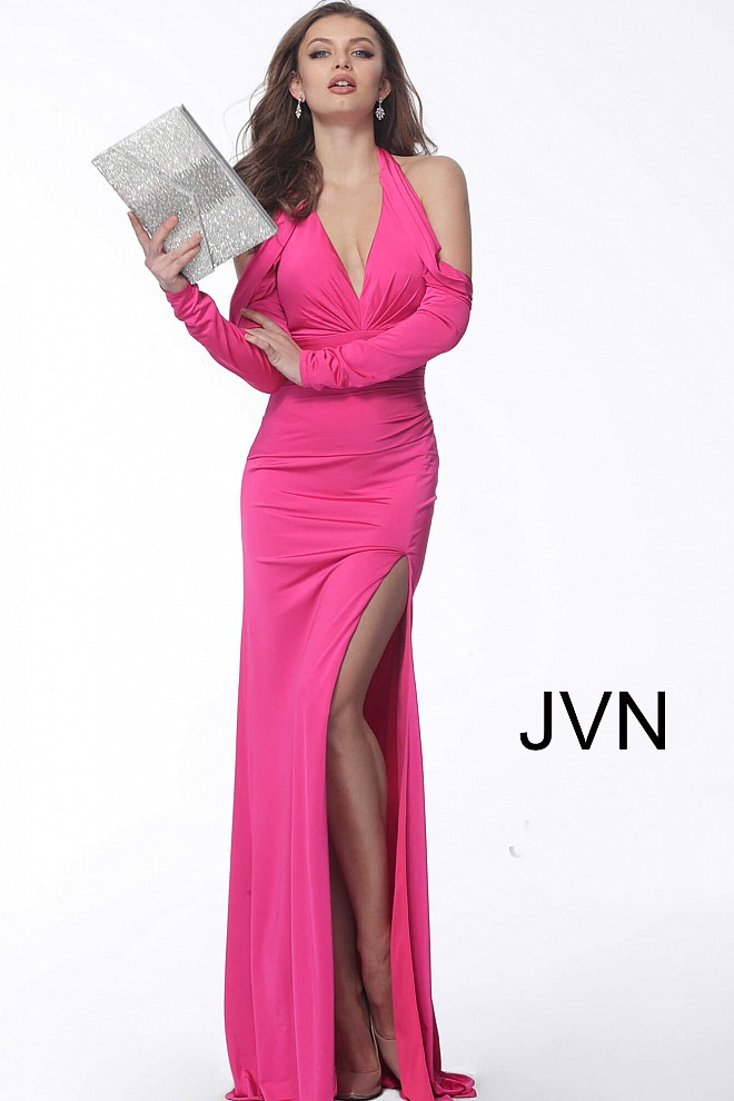 Hot Pink Plunging Neck Long Sleeves Prom Dress JVN61841