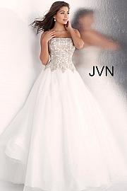 Jvn Off White Strapless Embroidered Bodice Prom Ballgown JVN62012