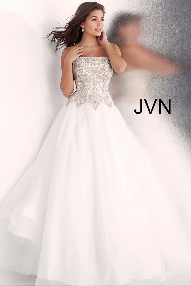 JVN62012 Off White Strapless Embroidered Bodice Prom Ballgown
