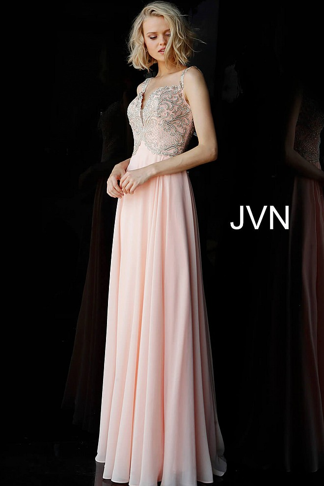 Peach Off the Shoulder Embellished Bodice Prom Dress JVN62321