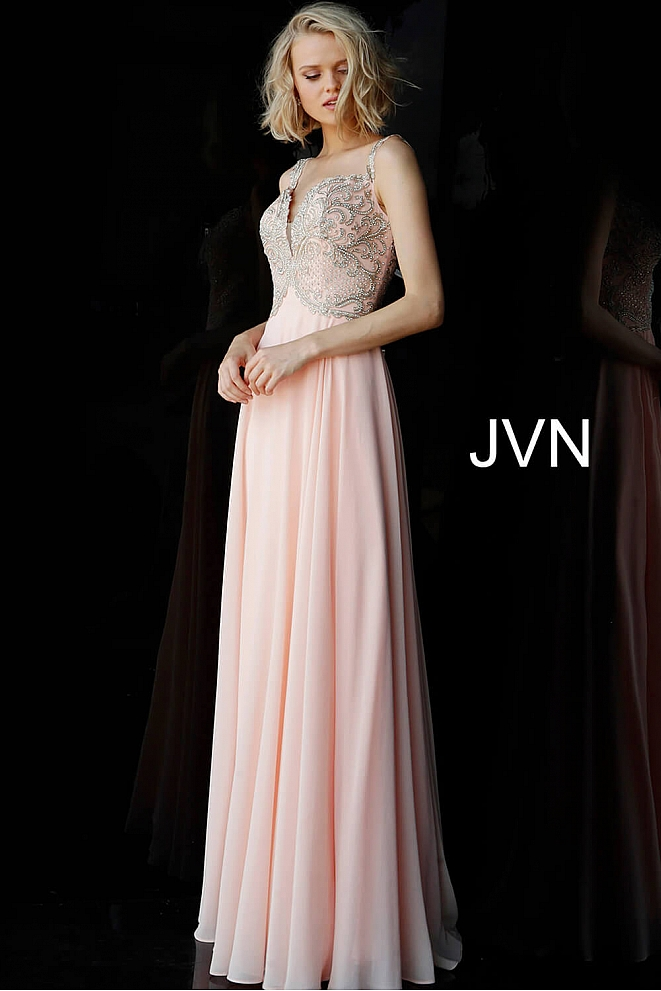 JVN62321 Peach Off the Shoulder Embellished Dress