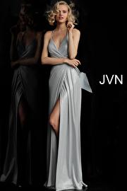 Silver High Slit Halter Neck Prom Dress JVN62325