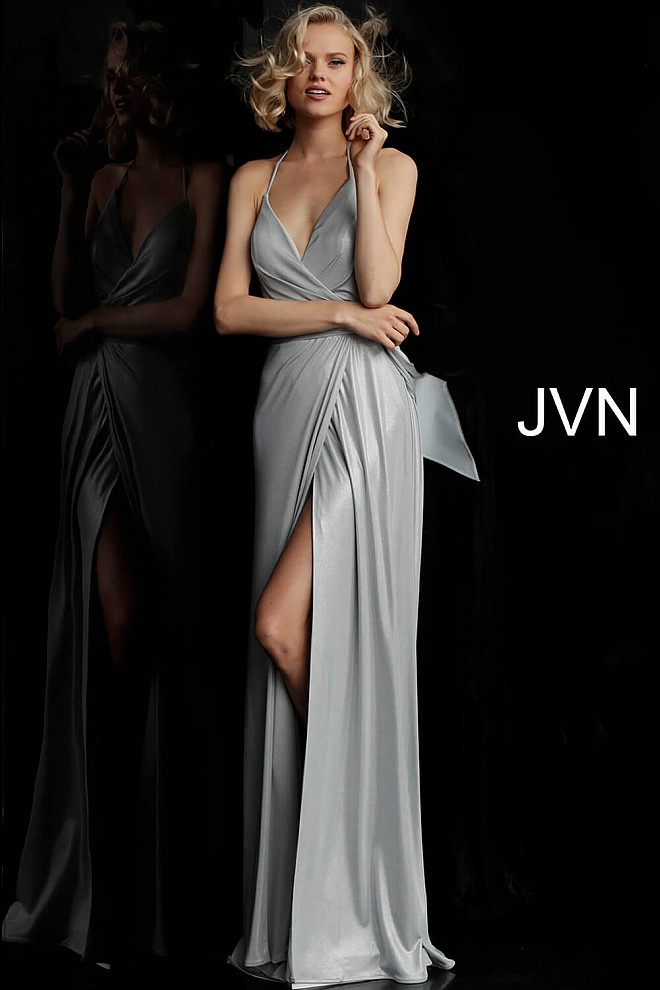d854238ab71 silver long backless V neck ruched bodice sleeveless prom dress.