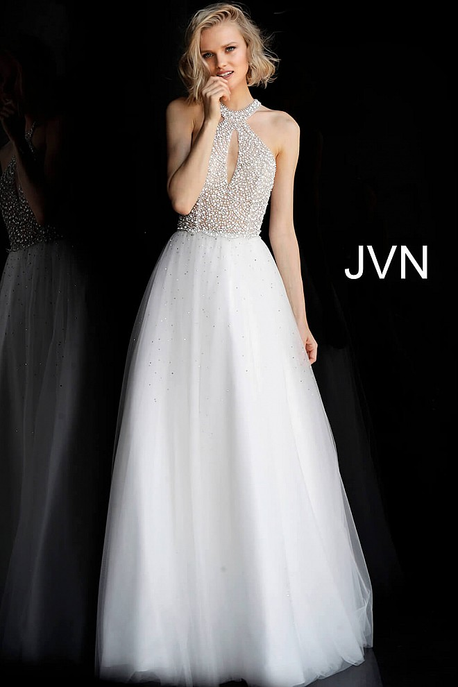 Off White Embellished Bodice Key Hole Neck Prom Ballgown JVN62328