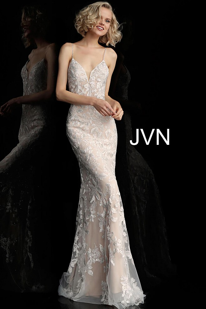 Off White Nude Spaghetti Straps Backless Prom Dress JVN62330