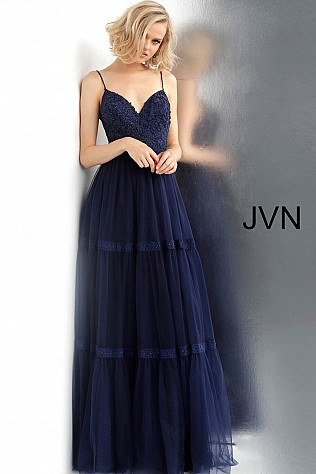 Navy Embroidered Bodice V Neck Prom Gown JVN62411