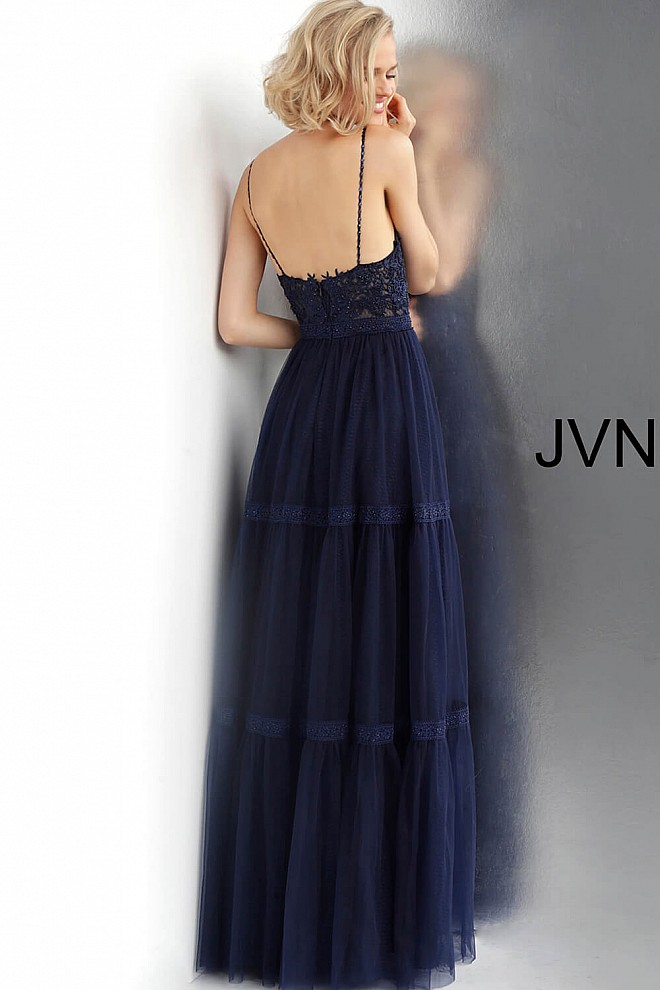 90d8ee27567 Navy A-Line Embroidered Spaghetti Straps Prom Gown
