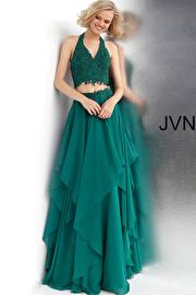 Jvn Emerald Two Piece Halter Neckline Prom Dress JVN62421