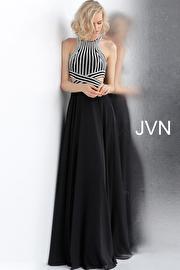 Black Silver Embellished Bodice High Neck Prom Dress JVN62472